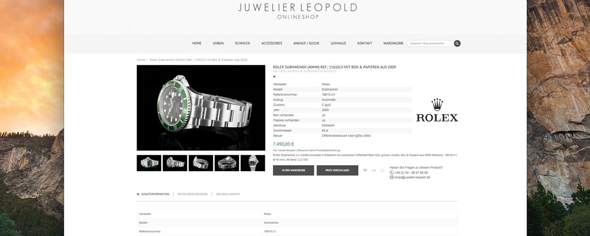 Website Online Shop Juwelier Leopold by Baasch Media