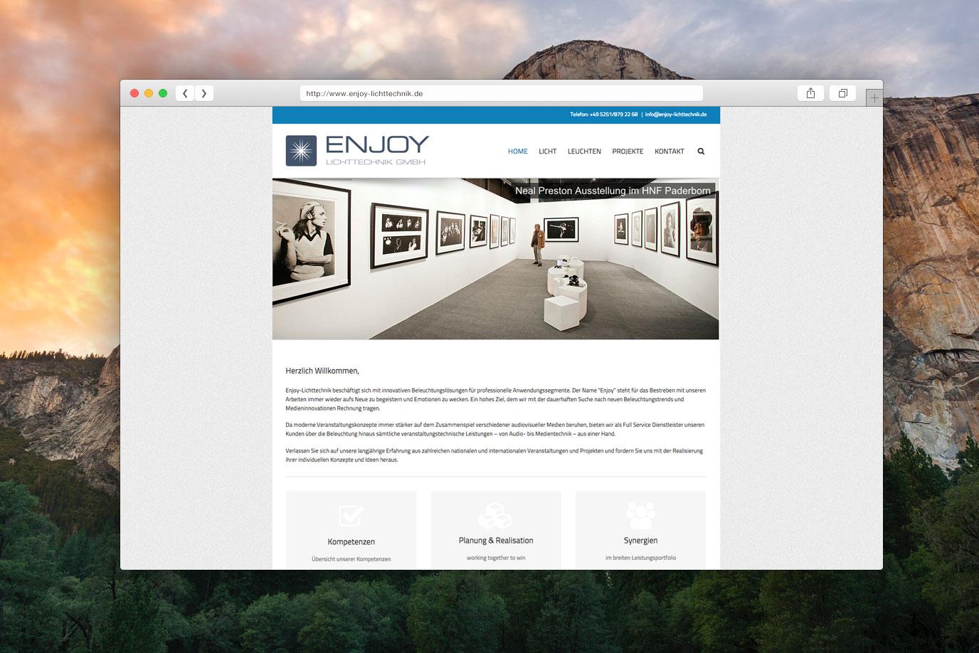 Webdesign Enjoy Lichttechnik Paderborn