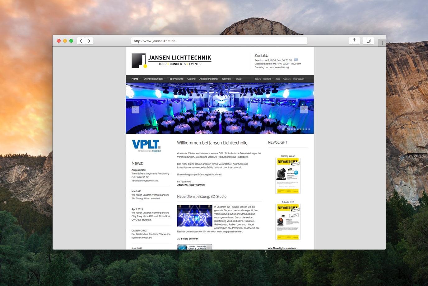 webdesign jansen lichttechnik in paderborn