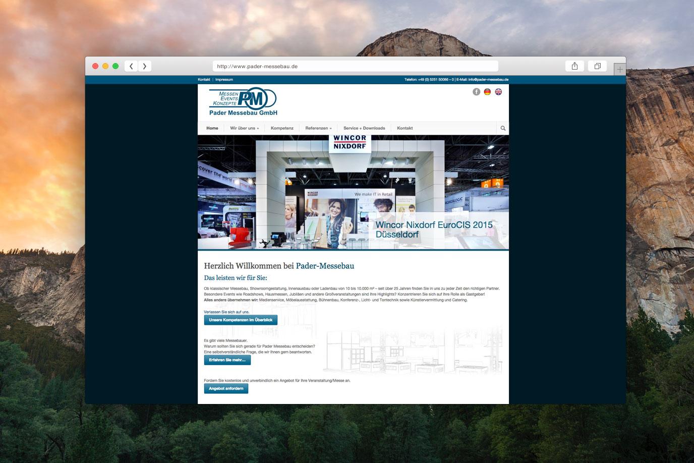 webdesign für pader messebau in paderborn