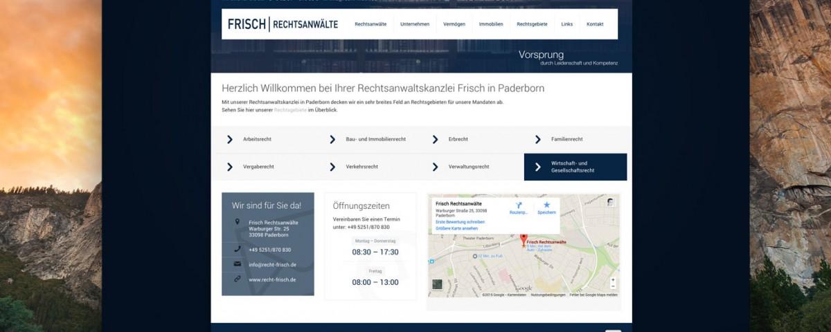 Webdesign Frisch Rechtsanwalt Paderborn