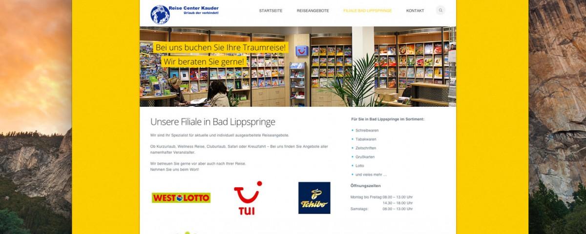 Webdesign Reisecenter Kauder in Paderborn