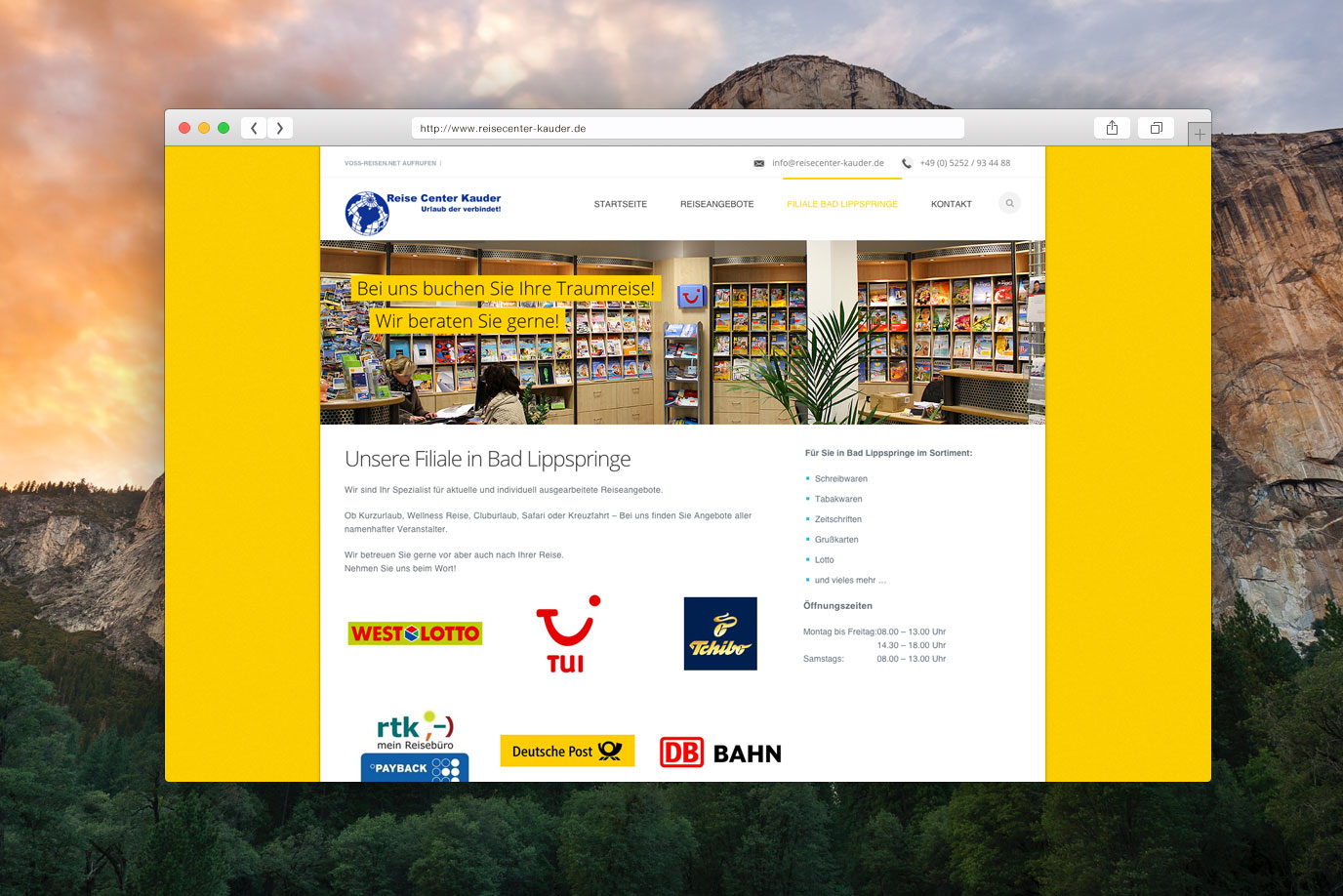 Webdesign Reisecenter Kauder in Paderborn