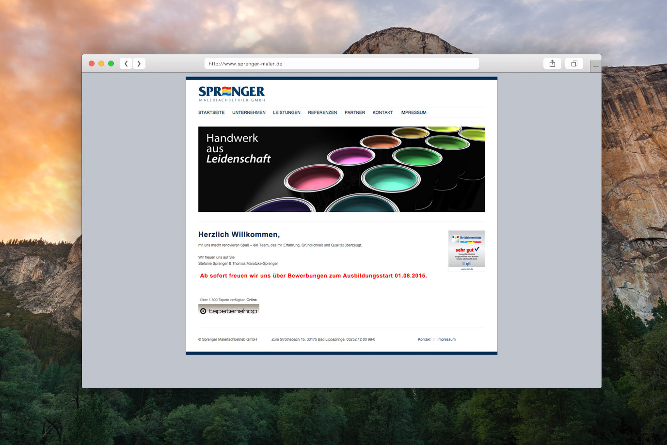 Webdesign Sprenger Maler Bad Lippspringe